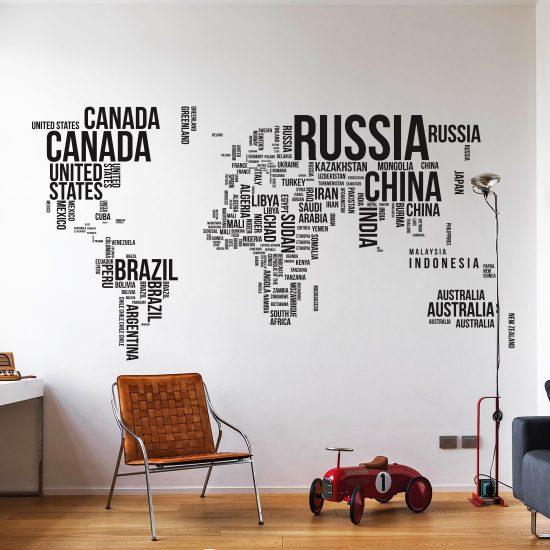 tekst-wereldkaart-muursticker-zwart-wit-grijs-woonkamer-goedkoop-