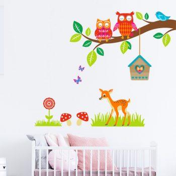 muursticker-dieren-kinderkamer-boom-uiltjes-hert-babykamer
