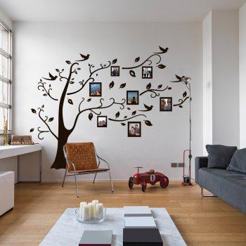 muursticker fotolijst boom met lijstjes zwart goedkoop wit wandsticker takken bladeren