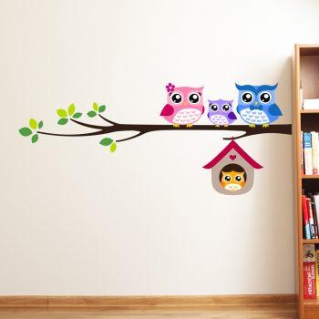 uilen-familie-muurstickers-vrolijk-kinderkamer-goedkoop