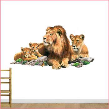 leeuwen muursticker familie welpen kinderkamer
