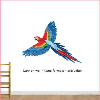 muursticker papegaai ara jungle vogel
