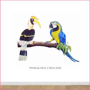 papegaai neushoornvogel muursticker op tak
