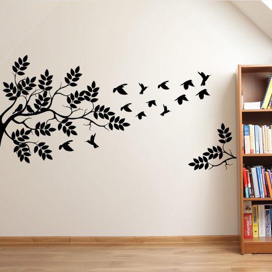 boom-met-vogels-zwart