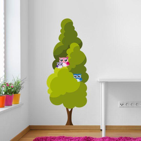 boom-muursticker-kinderkamer-vrolijk-uilen-familie-owls-happy-kleurrijk