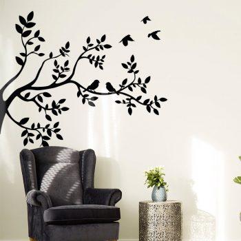 muursticker vogels boom takken zwart woonkamer ideeen stoer leuk luxe wit inspiratie