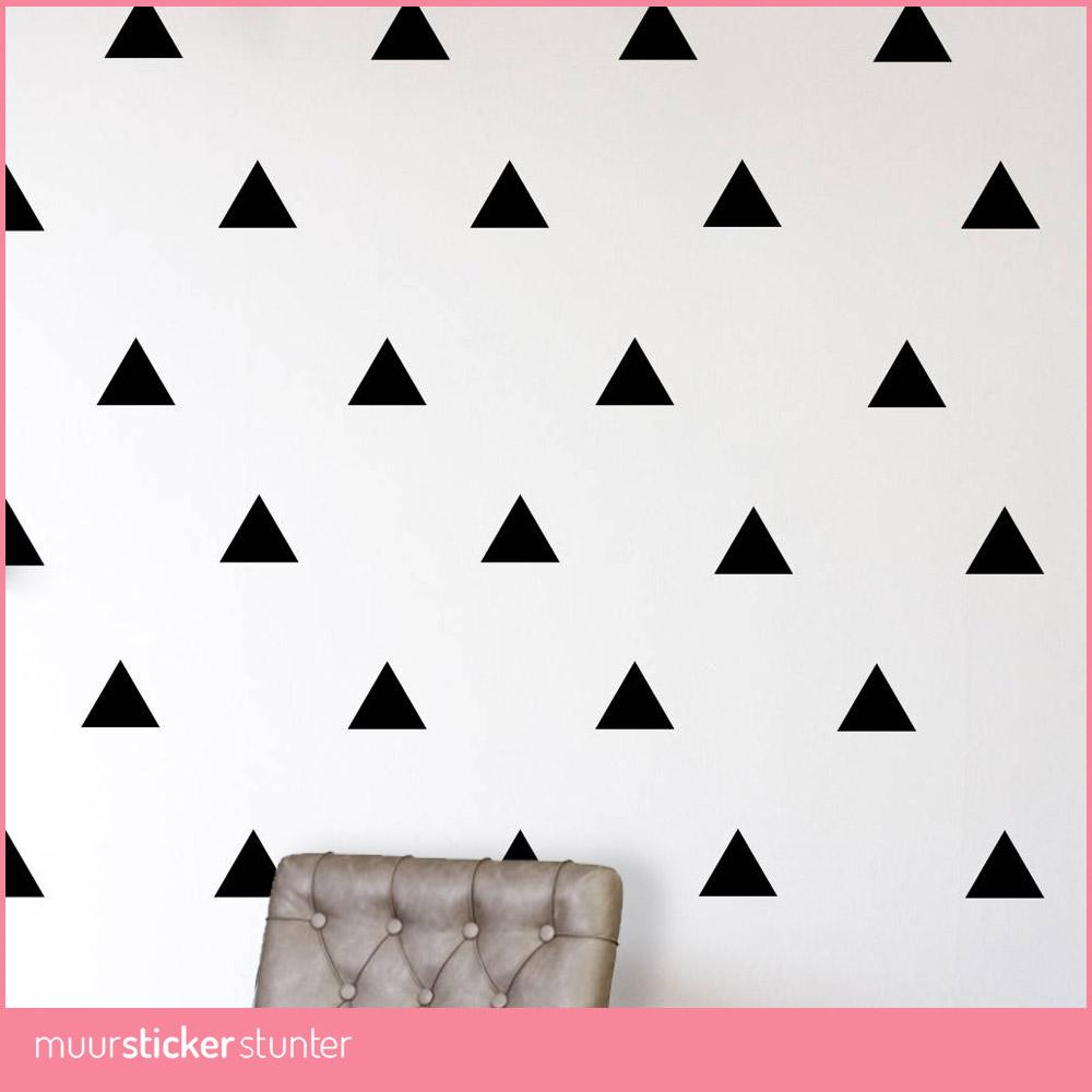 muurstickers-driehoekjes-zwart-grijs-goud-wit-silver-goedkoop-eigenformaat-kinderkamer-slaapkamer-keuken groot klein middel