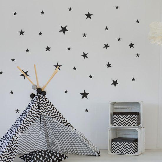 muurstickers-sterren-set-pakket-goedkoop-stars-glow-in-the-dark-zwart-wit