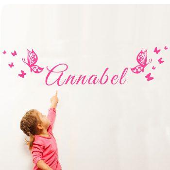 Naam Muursticker met vlinders goedkoop meisjeskamer roze