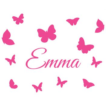 muursticker naam met vlidners roze