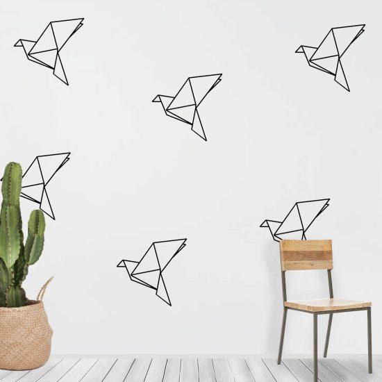 origami-muursticker-lijnen-alleen-zwart-minimalistisch-modern