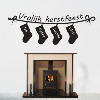 kerst-muursticker-slinger-feest-winter-wit-rood-zwart-namen-naamsticker-kerst-muursticker
