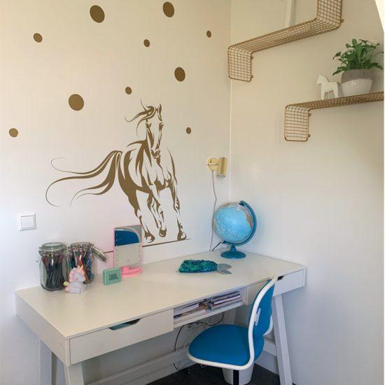 muursticker meisjeskamer liefhebber paarden goud stippen ideeen diy inspiratie leuke goedkoop muur