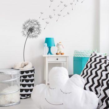 paardenbloem-muursticker-wit-zwart-wanddecoratie-muurdecoratie-vinyl