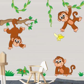 apen-op-tak-muurstickers-kinderkamer-vrolijk-goedkoop-slingeren-bladeren-groen-2