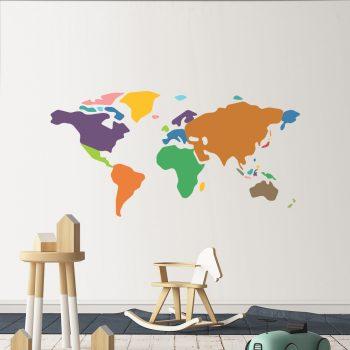 muursticker kinderkamer wereldkaart kleurrijk