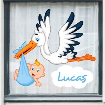 raamsticker ooievaar geboorte jongen hoera ruit stikker blauw its a boy geboorte bord tuin