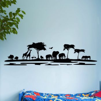 afrikaanse-dieren-muursticker-olifanten-giraffes-leeuwen-struisvogels-neushoorn-zeebars