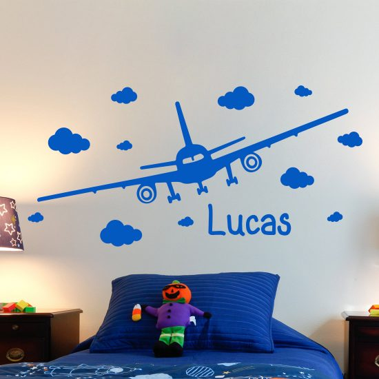 vliegtuig-muursticker-set-met-eigen-naam