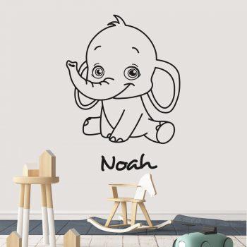muursticker-olifant-met-naam