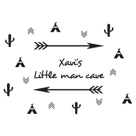 muursticker-little-man-cave-zwart-wit-kinderkamer-scandinavisch