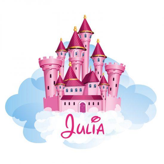 muursticker kasteel prinses princess naamsticker roze meisjeskamer ideeen inspiratie muurdecoratie wanddecoratie