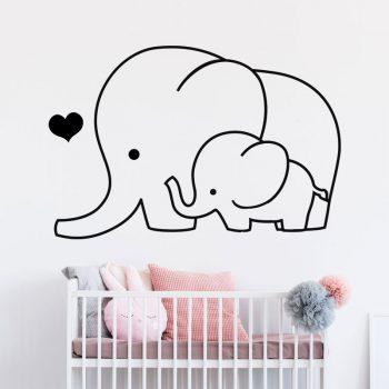 muursticker-olifant-met-baby-olifantje-sticker-deursticker-kinderkamer-babykamer