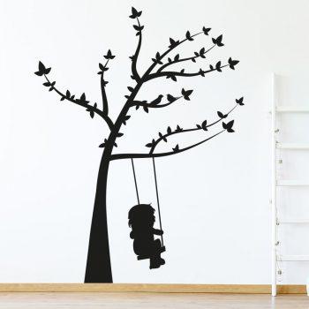 muursticker boom met schommel en vogels tak zwart dieren kinderkamer inspiratie ideeen stoer meisjeskamer meidenkamer