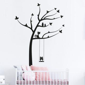 muursticker-boom-met-vogels-kat-dieren-schommel