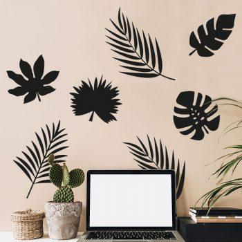 muursticker-bladeren-jungle-urban-werkkamer-studiekamer-wanddecoratie-zwart-stikkers-muur-muurstickers