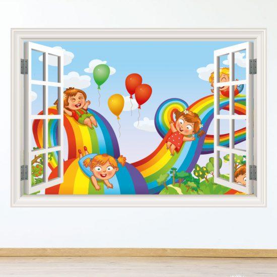 muursticker-regenboog-babykamer-vrolijk-ideen-diy-meisjeskamer-kleurrijk