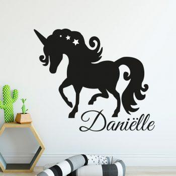 muursticker unicorn met naam kinderkamer babykamer inspiratie zwart wit ideeen
