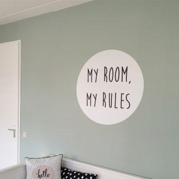 muursticker kinderkamer diy goedkoop inspiratie ideeen verf groen my room rules deursticker babykamer