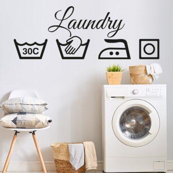 muursticker laundry washok ideeen inspiratie modern kleuren interieur