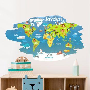muursticker wereldkaart dieren kinderkamer naam inspiratie diy leuke ideeen
