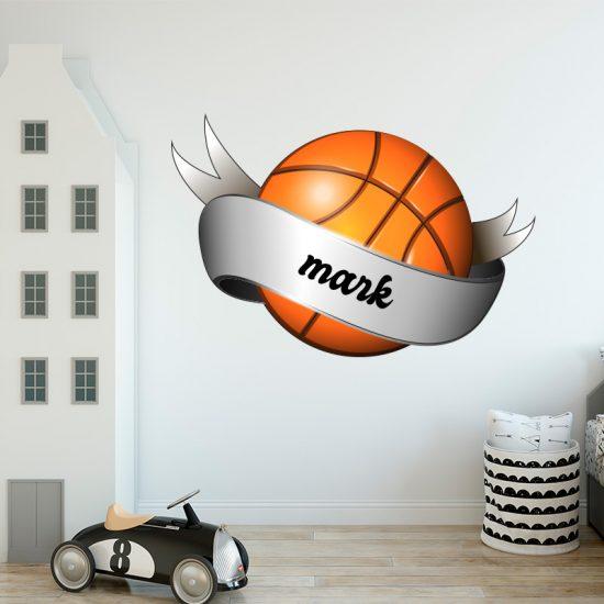 muursticker basketbal met naam balsport sport