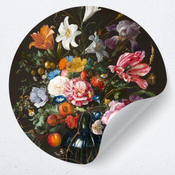 muurcirkel behangcirkel muursticker bloemen stilleven jan davidz vase of flowers