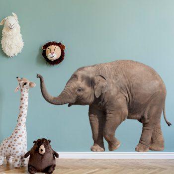 muursticker olifant baby kinderkamer inspiratie lief schattig babykamer grijze elephant dieren kamer