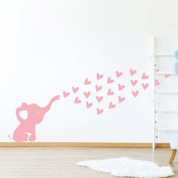 muursticker olifantje babykamer zacht roze lief ideeen inspiratie