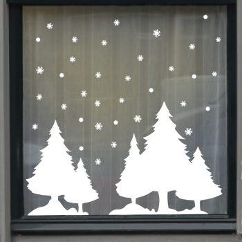 raamsticker kerst dorp bomen sneeuw wit ideeen inspiratie