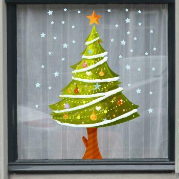 raamsticker kerst kerstboom etalage
