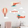 muursticker luchtbalon naam vliegtuig kinderkamer babykamer ideen inspiratie sticker