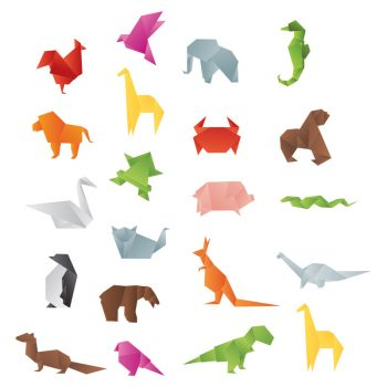 muursticker origami dieren giraffe kolibrie olifant beer haas konijn vogels dinosaurussen kip tijger kikker
