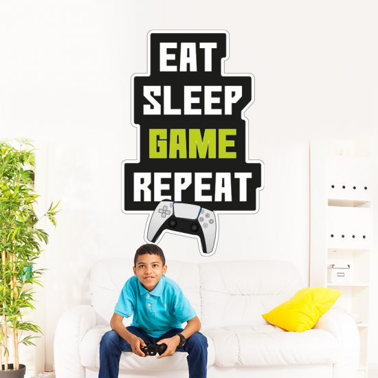 muursticker raamsticker deursticker game eat sleep game repeat ideeen gameroom gamekamer