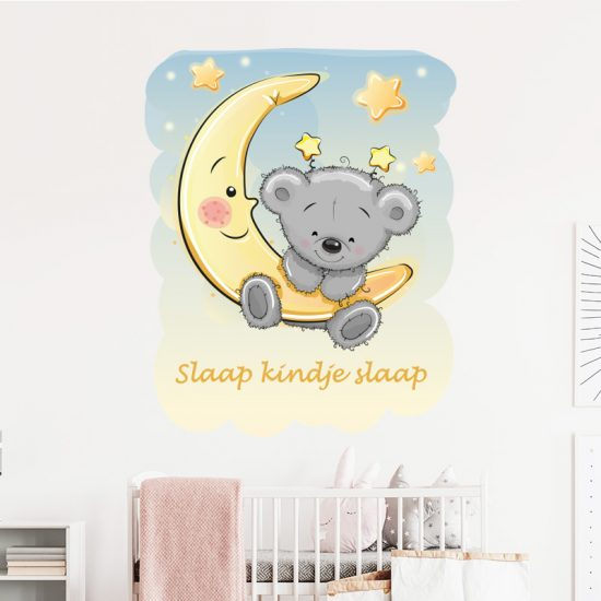 muursticker slaap kindje slaap beer maan babykamer ideeen inspiratie verven