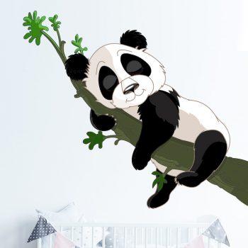 muursticker slapende panda op tak kinderkamer babykamer ideeen inspiratie boom tak jungle