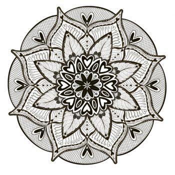 muursticker mandala zwart bloemen liefde woonkamer yoga hartjes bladeren
